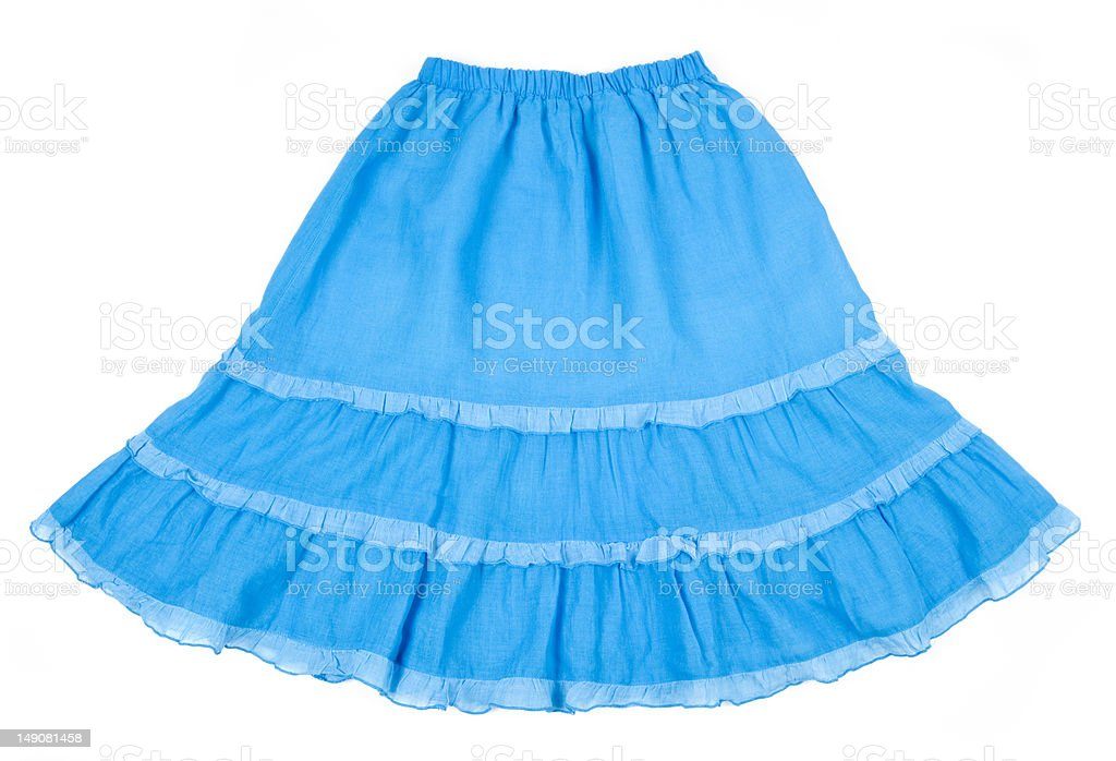 Blue Cotton Skirt Isolated on White royalty-free stock photo