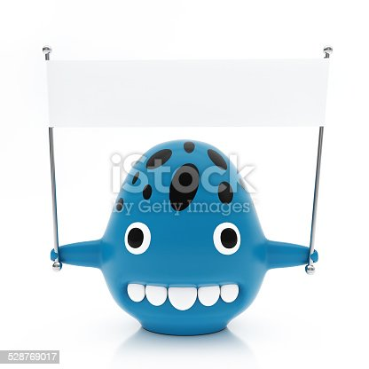 istock Blue Creature with Black Spots, Empty White Flag, Isolated 528769017