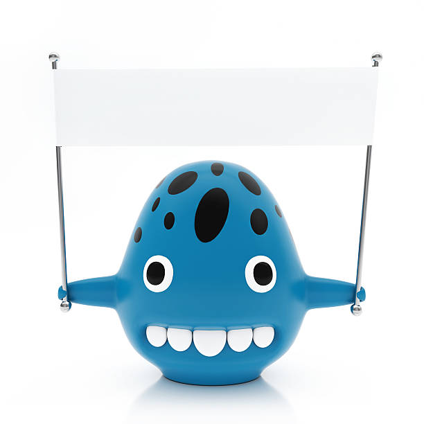 Blue Creature with Black Spots, Empty White Flag, Isolated stock photo