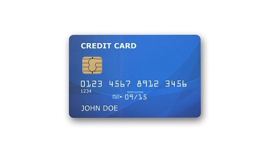 Blue credit card with microchip isolated on white background
