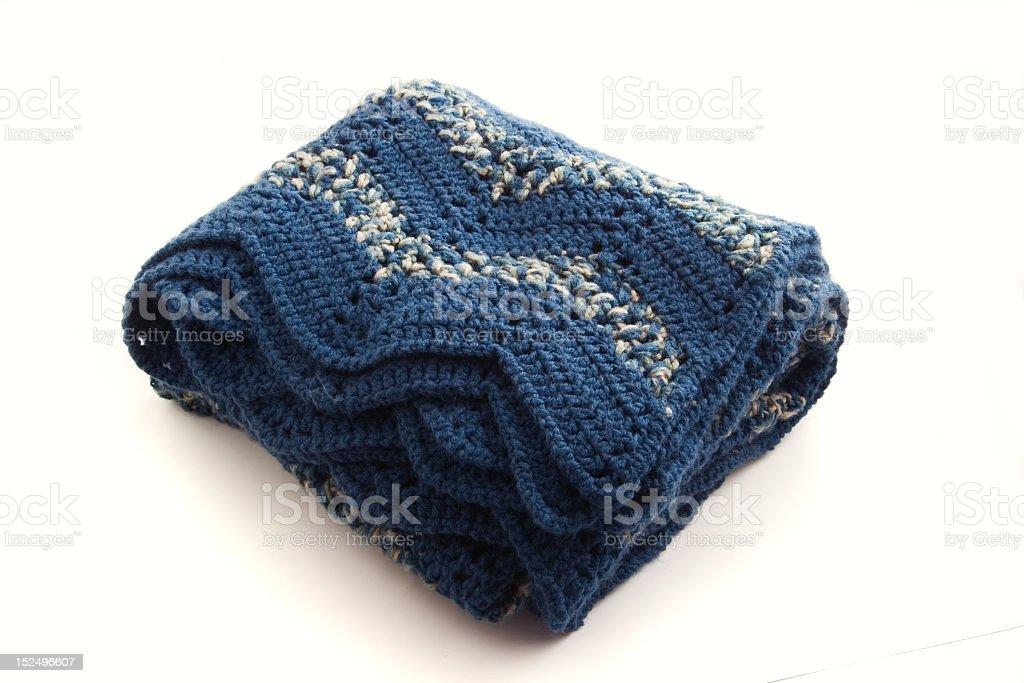 Blue Crocheted Blanket royalty-free stock photo
