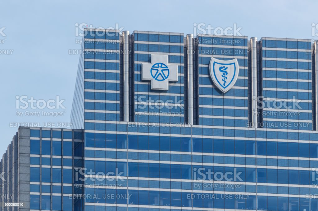 Blue Cross Blue Shield headquarters signage and logo. Blue Cross Blue Shield is a federation of health insurance organizations I stock photo