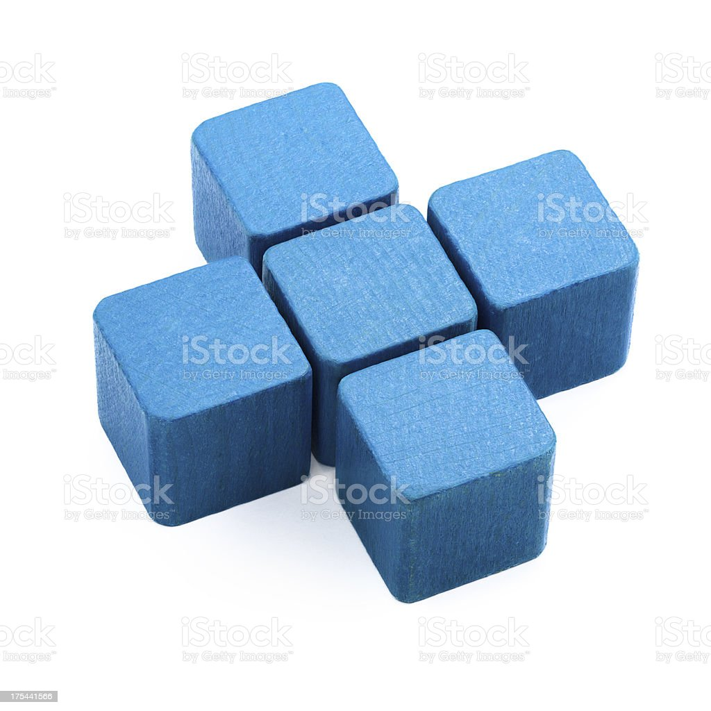 Blue Cross made from wood blocks royalty-free stock photo