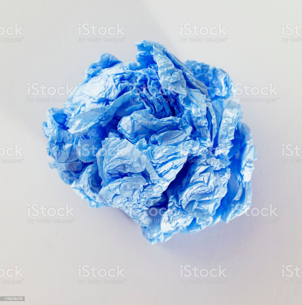 Blue crumbled paper royalty-free stock photo