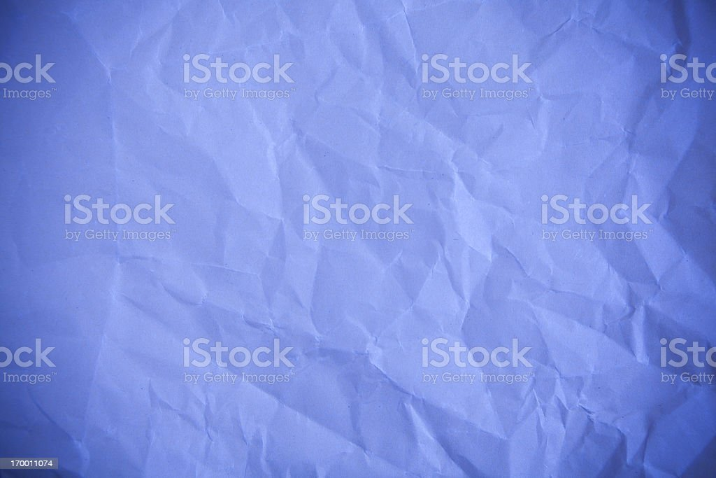 Blue crumpled paper stock photo