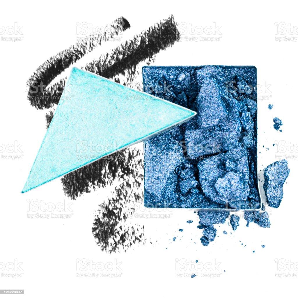 Blue Crushed Eyeshadow and Smudged Eyeliner stock photo