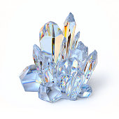 Blue crystal 3d rendering isolated illustration