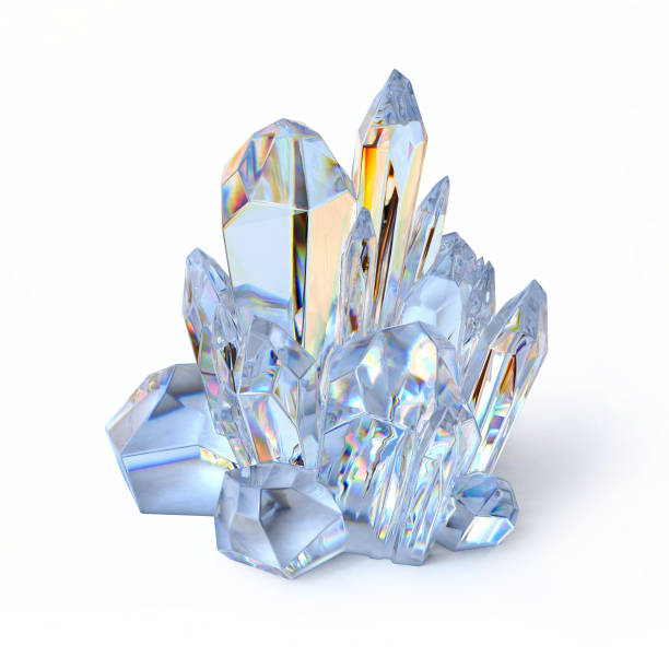 Blue crystal 3d rendering isolated illustration Blue crystal 3d rendering isolated illustration stone object stock pictures, royalty-free photos & images