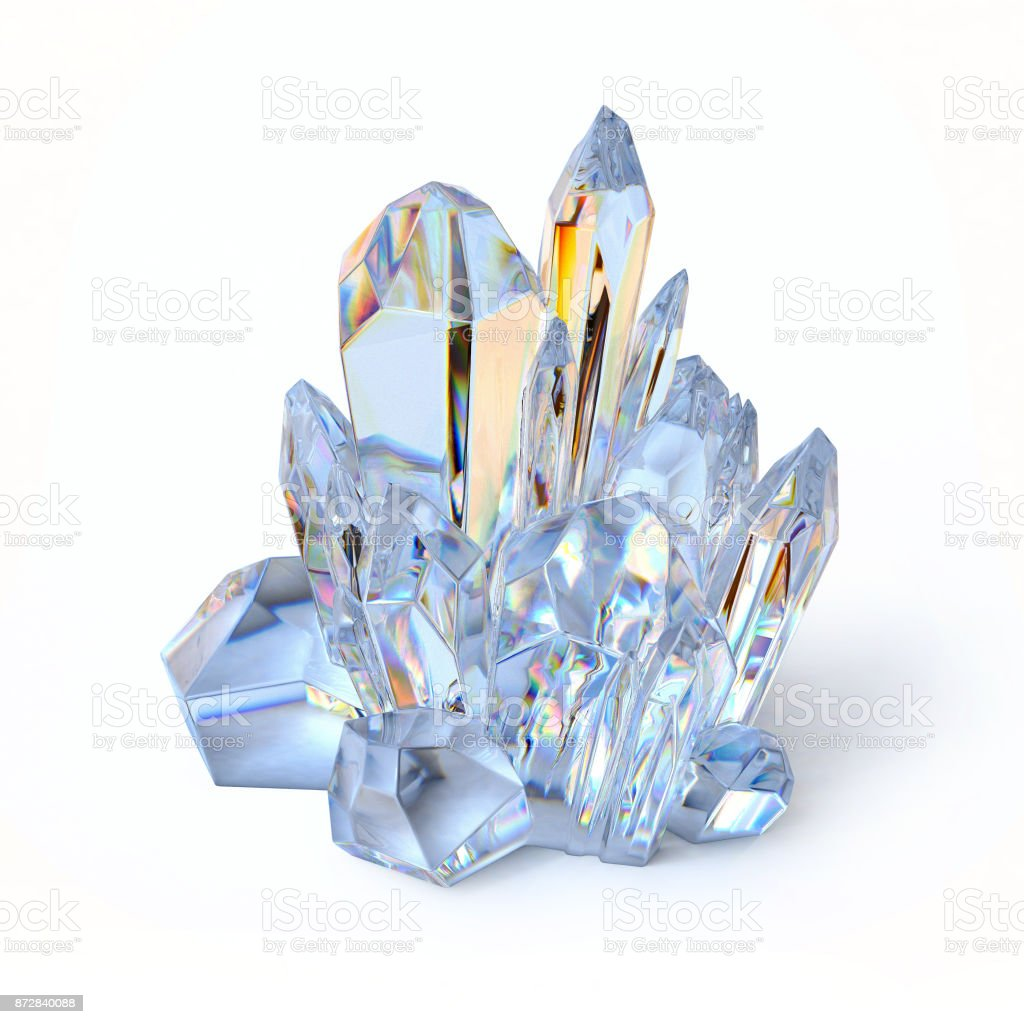 Blue crystal 3d rendering isolated illustration stock photo