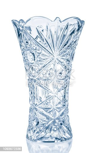 Blue crystal vase close up isolated on white background