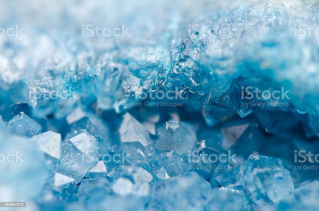 blue crystals Agate SiO2. Macro stock photo