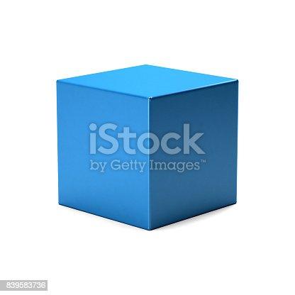Blue Cube in white background. 3D Rendering Illustration