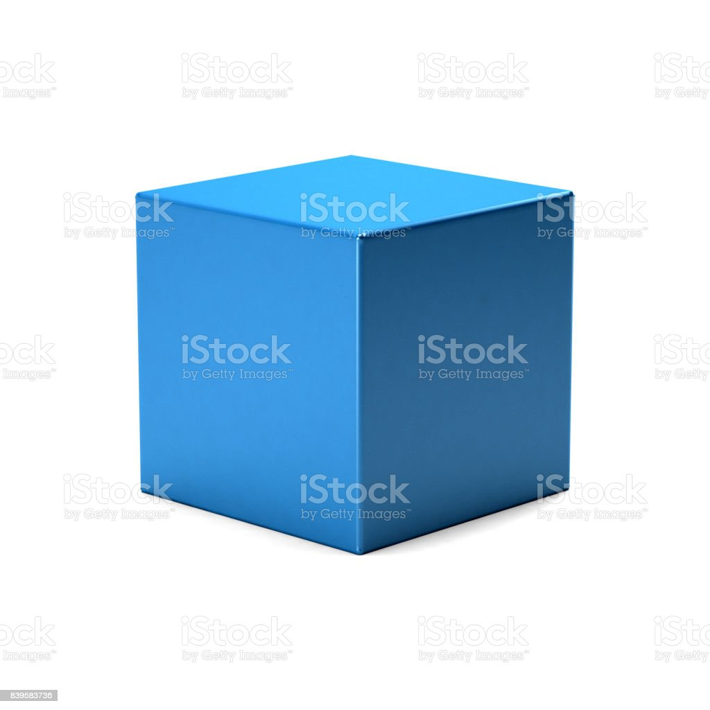 Blue Cube in white background. 3D Rendering Illustration stock photo