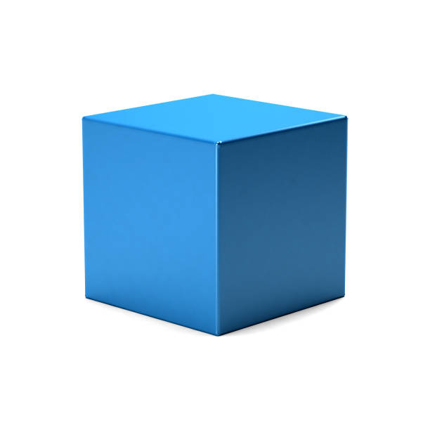 blue cube in white background. 3d rendering illustration - cube shape stock pictures, royalty-free photos & images