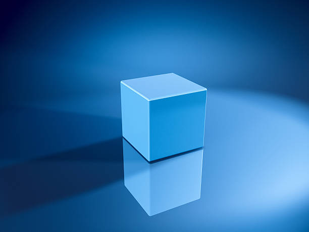 Blue Cube 3D Render. Very high resolution available! Use it for Your own composings! abstract 3d stock pictures, royalty-free photos & images