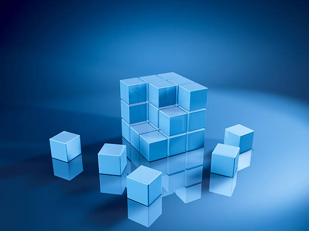 Blue Cube Three Rows Missing Pieces 3D Render. Very high resolution available! Use it for Your own composings!Related images: abstract 3d stock pictures, royalty-free photos & images