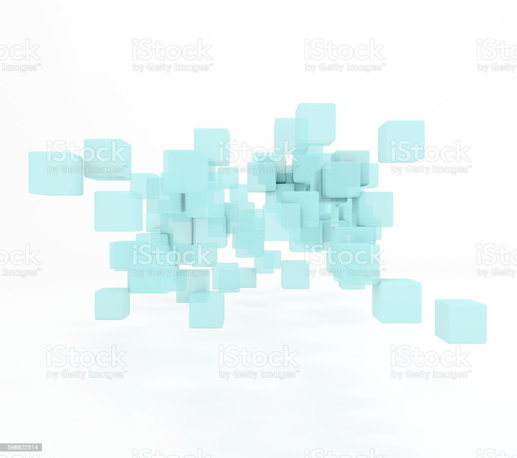 Blue cubes abstract background stock photo