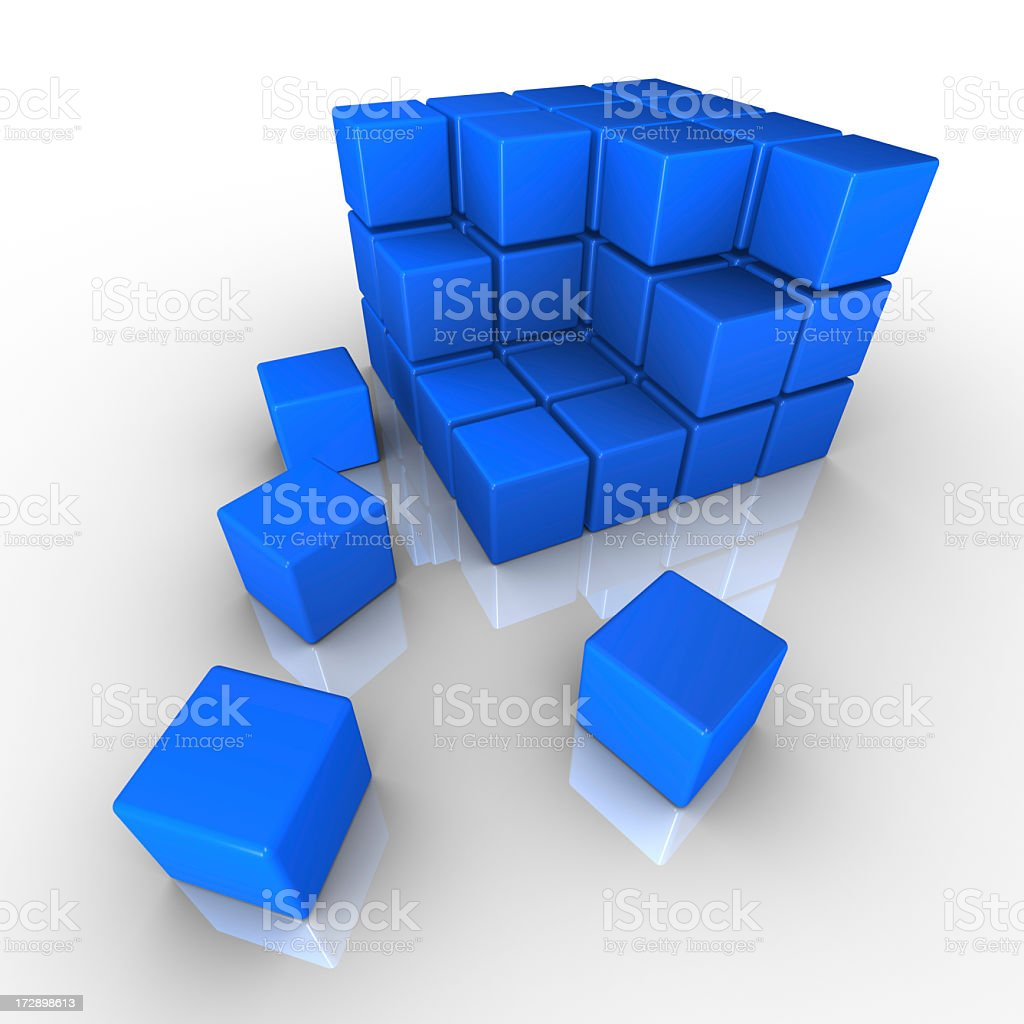 Blue cubes forming a larger cube stock photo