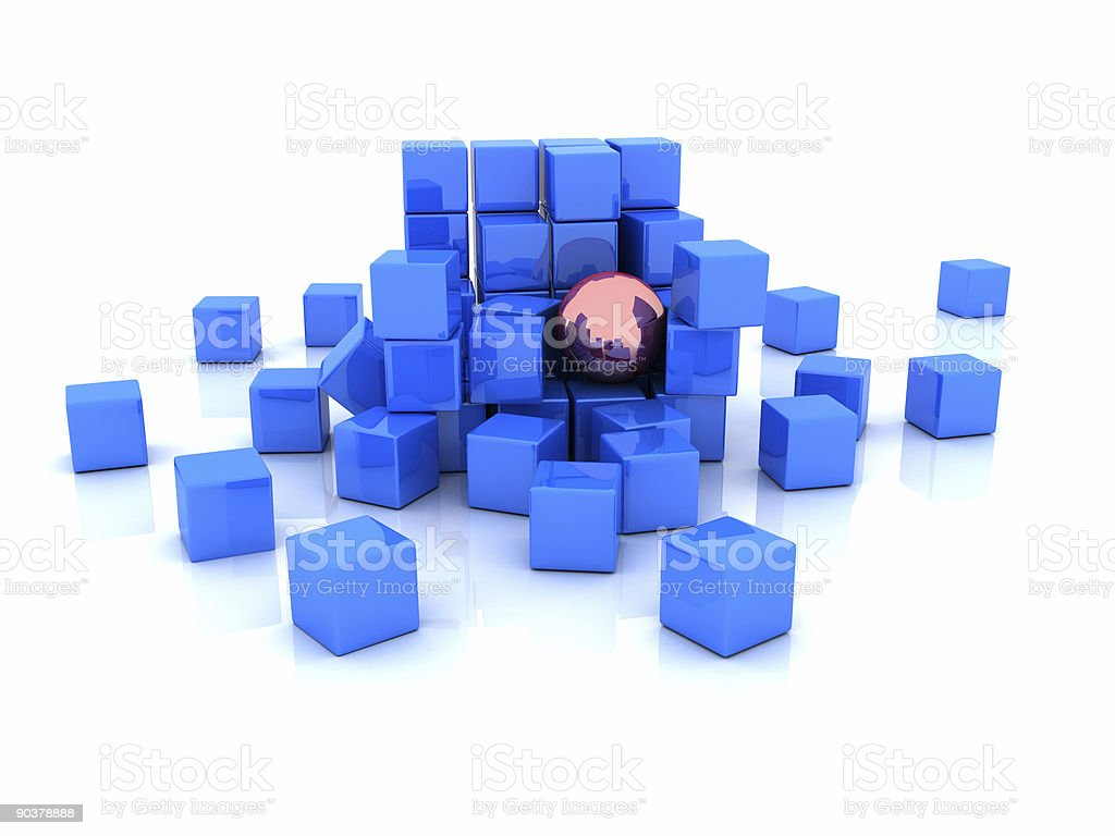 Blue cubes royalty-free stock photo