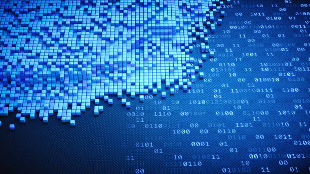 blue cubes structure on binary numbers - bit binary stock pictures, royalty-free photos & images