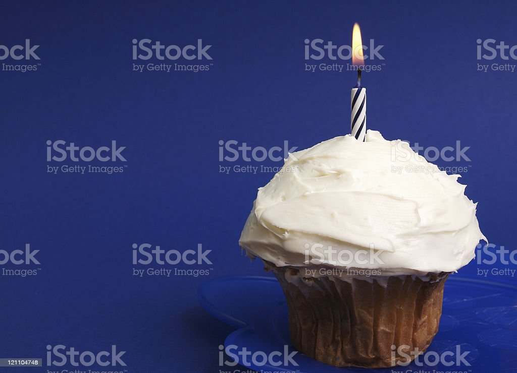 Blue Cup Cake Candle royalty-free stock photo