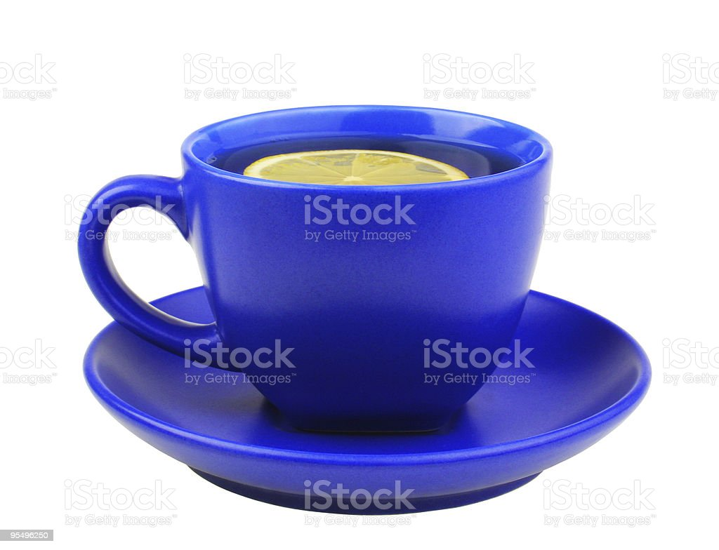 Blue cup of tea with lemon royalty-free stock photo