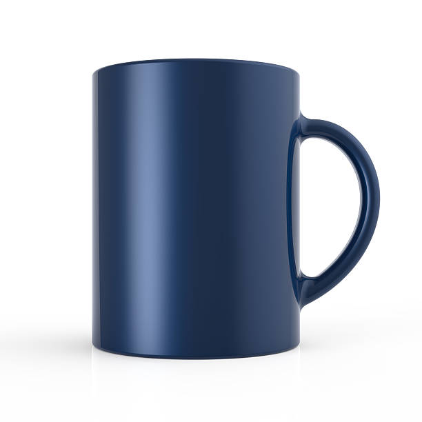 Blue cup render stock photo