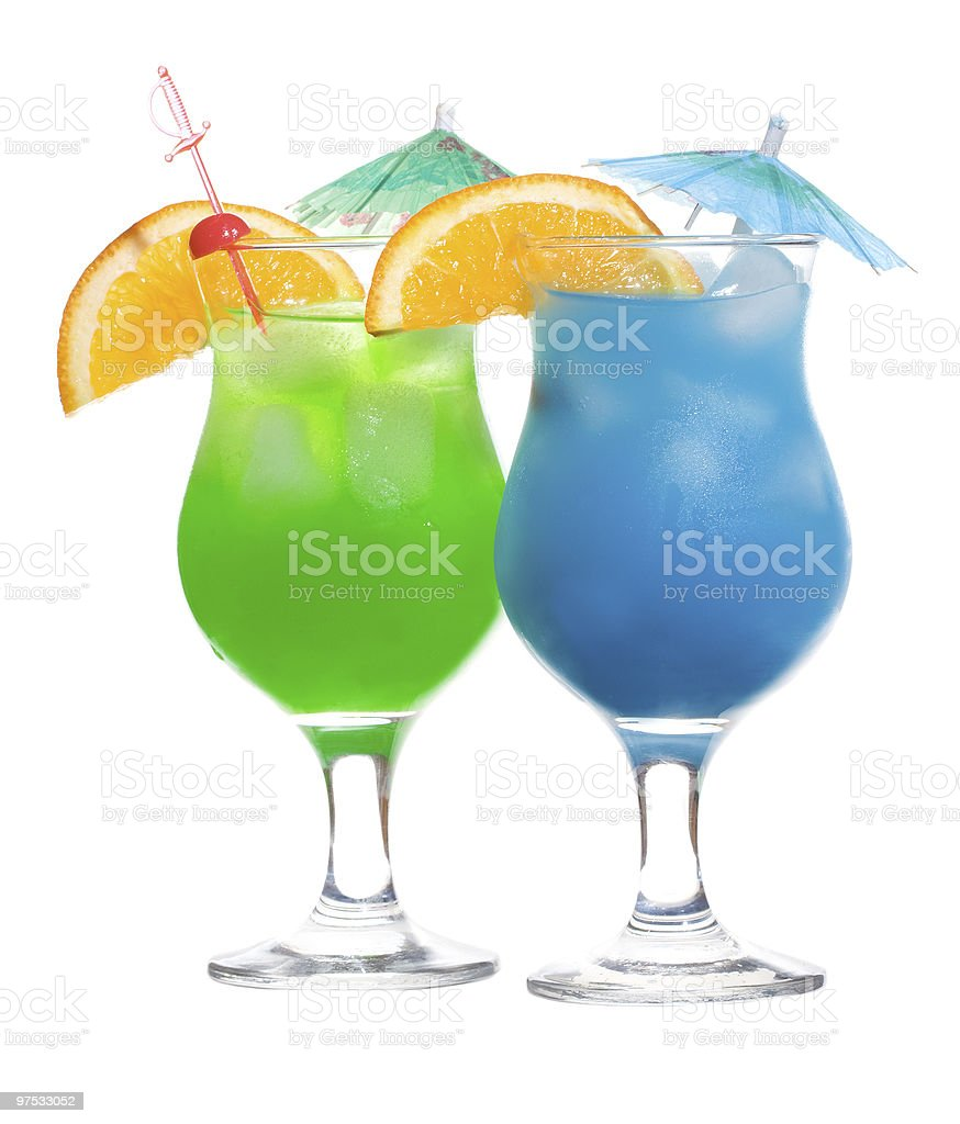 Blue Curacao and green alcoholic cocktails royalty-free stock photo
