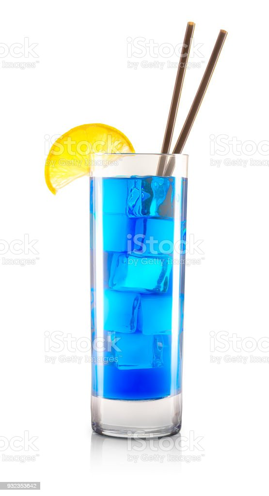 Blue curacao cocktail in glass isolated on white stock photo
