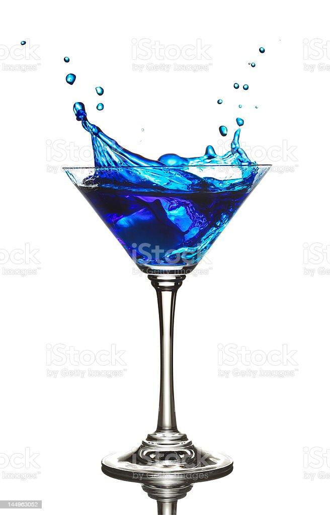 Blue Curacao cocktail splash stock photo