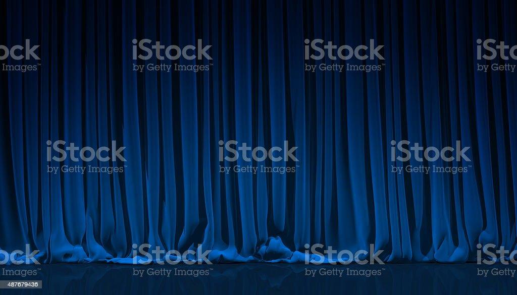 Blaue Vorhänge in theater. - Lizenzfrei 2015 Stock-Foto