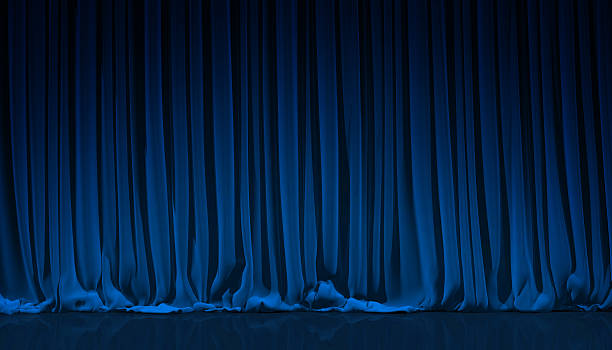 Blue curtain in theater. stock photo