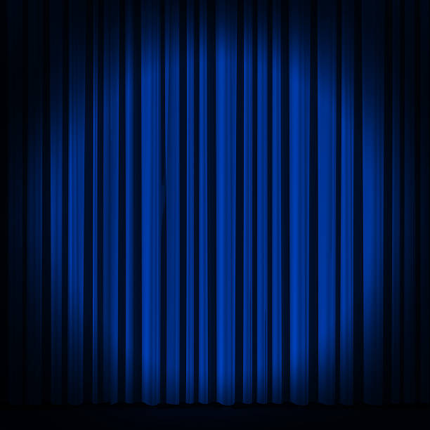 blue curtain in theater. - england stock photos and pictures