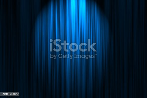 Blue stage curtain.