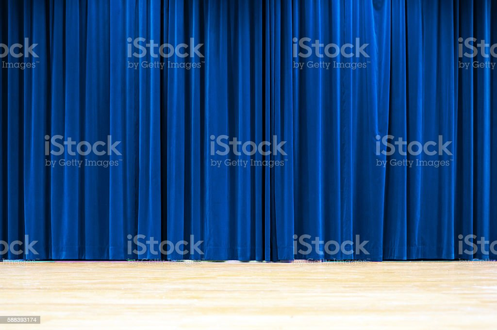 Blue Curtain Stage stock photo