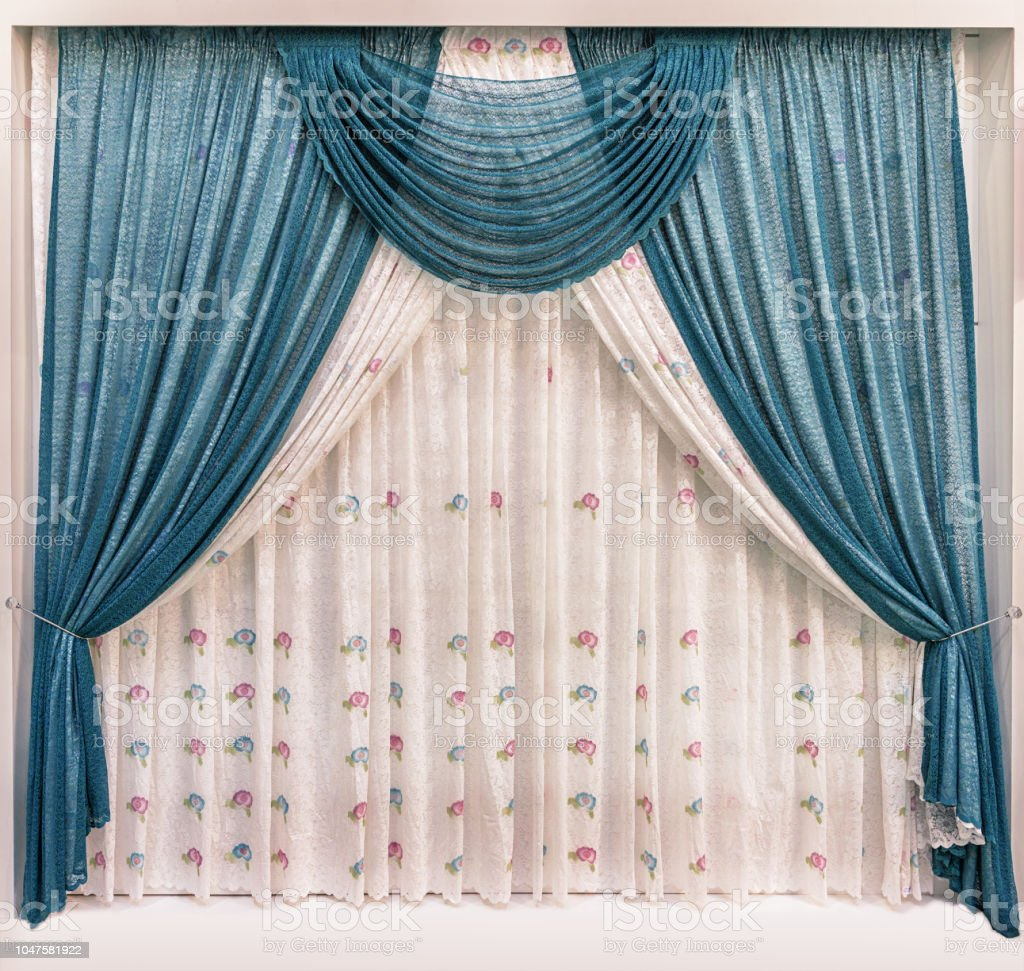 Blue Curtains And Pelmet Of Light Mesh Fabric And Tulle With Floral Ornament Stock Photo Download Image Now Istock