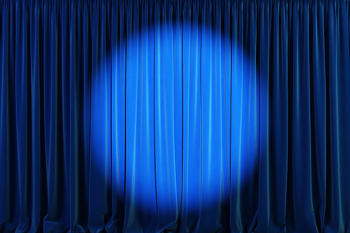 Blue curtains with spotlight or flash. 3d illustration
