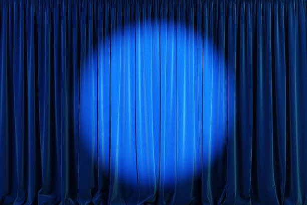 Blue curtains with spotlight or flash. Blue curtains with spotlight or flash. 3d illustration stage performance space stock pictures, royalty-free photos & images