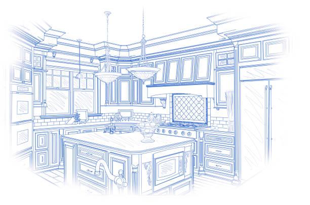Blaue benutzerdefinierte Küche Design Zeichnung auf weiß – Foto
