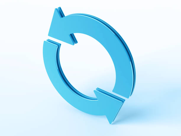 Blue Cycle Arrow Symbol 3D Render of a blue Cycle Arrow Symbol. Very high resolution available! Concept image for Cycle Processes. Use it for Your own composings!Related images: blue 3d business NOT map NOT background stock pictures, royalty-free photos & images