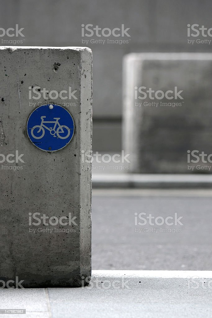 Blue cycle path sign royalty-free stock photo