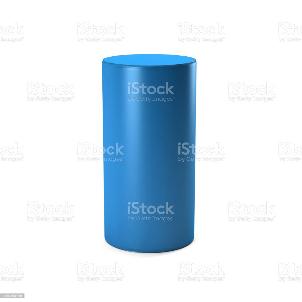 Blue Cylinder in white background. 3D rendering Illustration stock photo