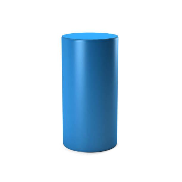 흰색 바탕에 파란색 실린더입니다. 3d 렌더링 그림 - 원기둥 뉴스 사진 이미지