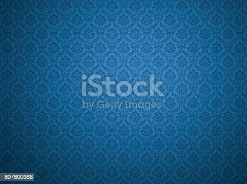 istock Blue damask pattern background 807800366