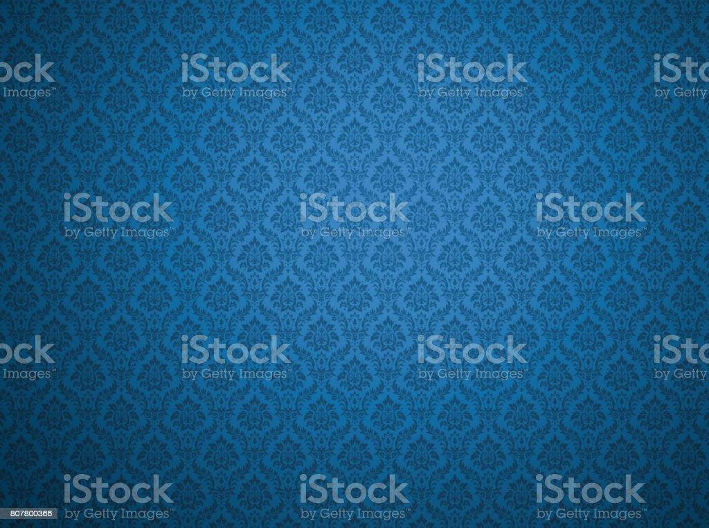 Blue damask pattern background stock photo