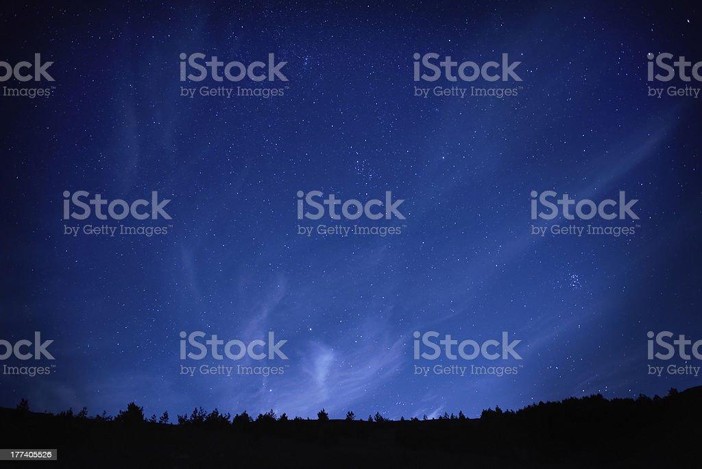 Blue dark night sky with stars. royalty-free stock photo