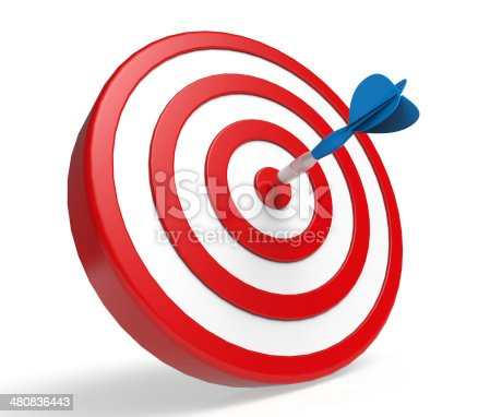 istock Blue dart in center of red and white target 480836443