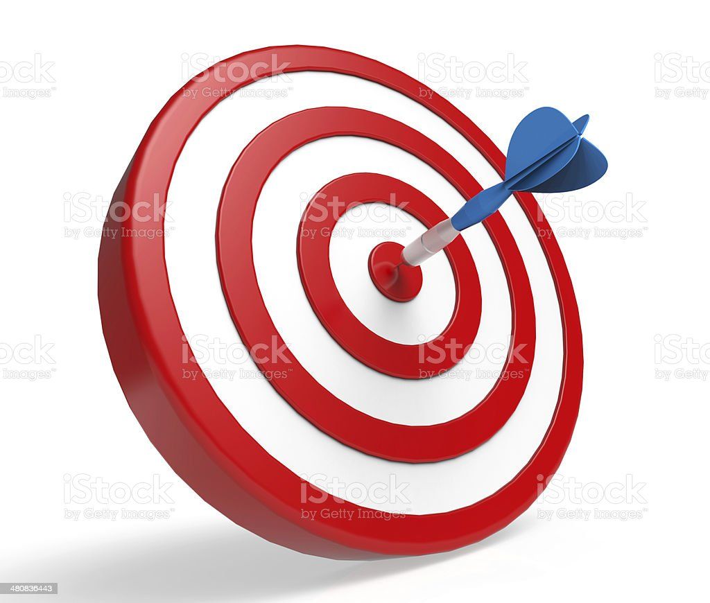 Blue dart in center of red and white target stock photo