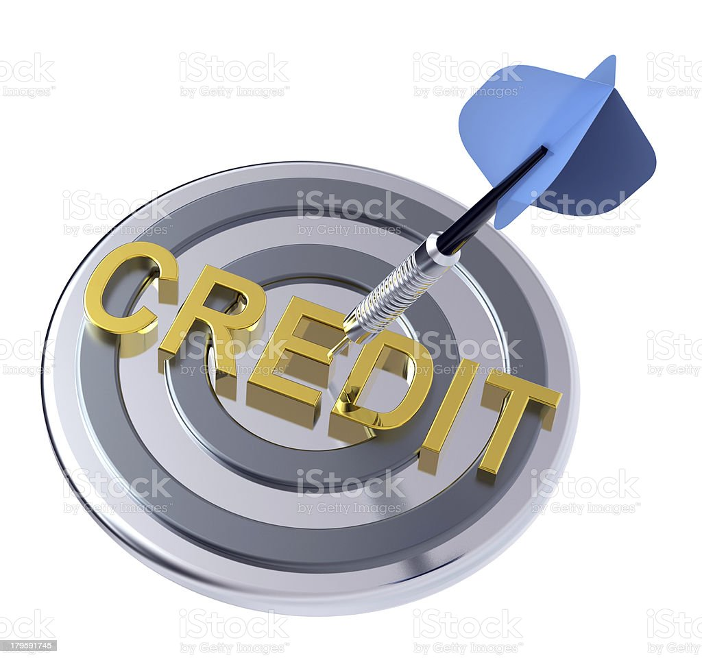 Blue dart in the target with credit text on it. royalty-free stock photo