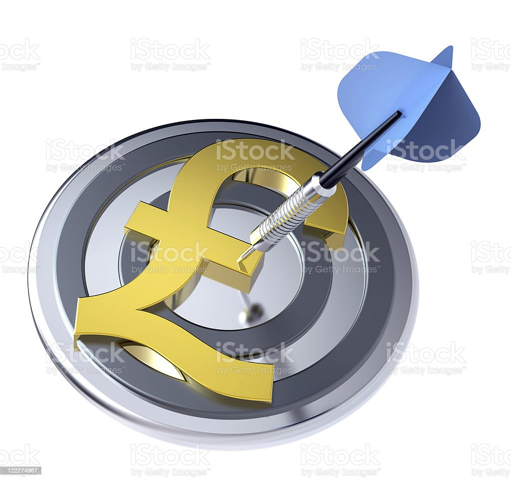 Blue dart in the target with pound sign on it. royalty-free stock photo